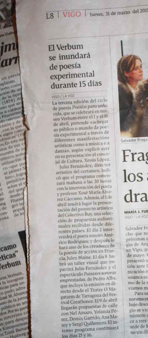 noticia en La voz de galicia